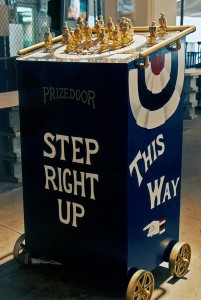 "Whistle Stop Stumping Podium from back with the text ""Step Right Up"""