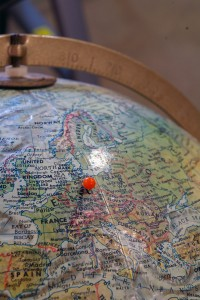 Post-WWII globe with Leipzig marked by a pin
