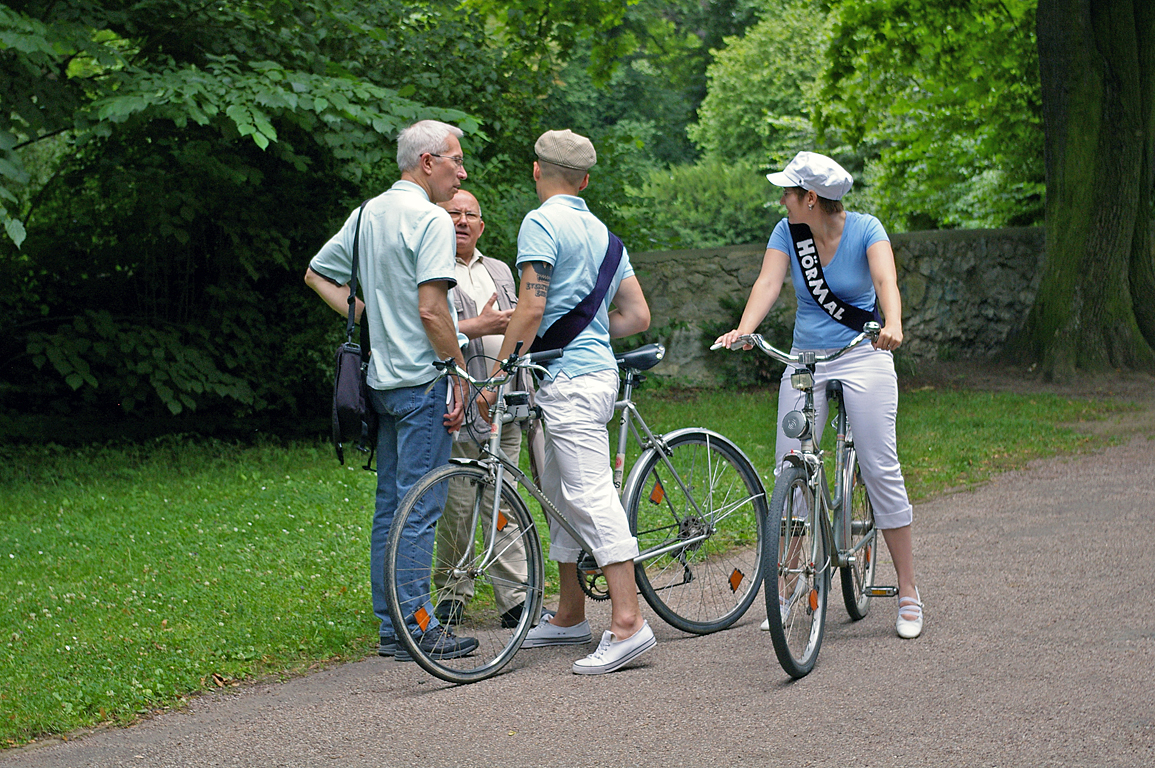 Talking with visitors in the Park