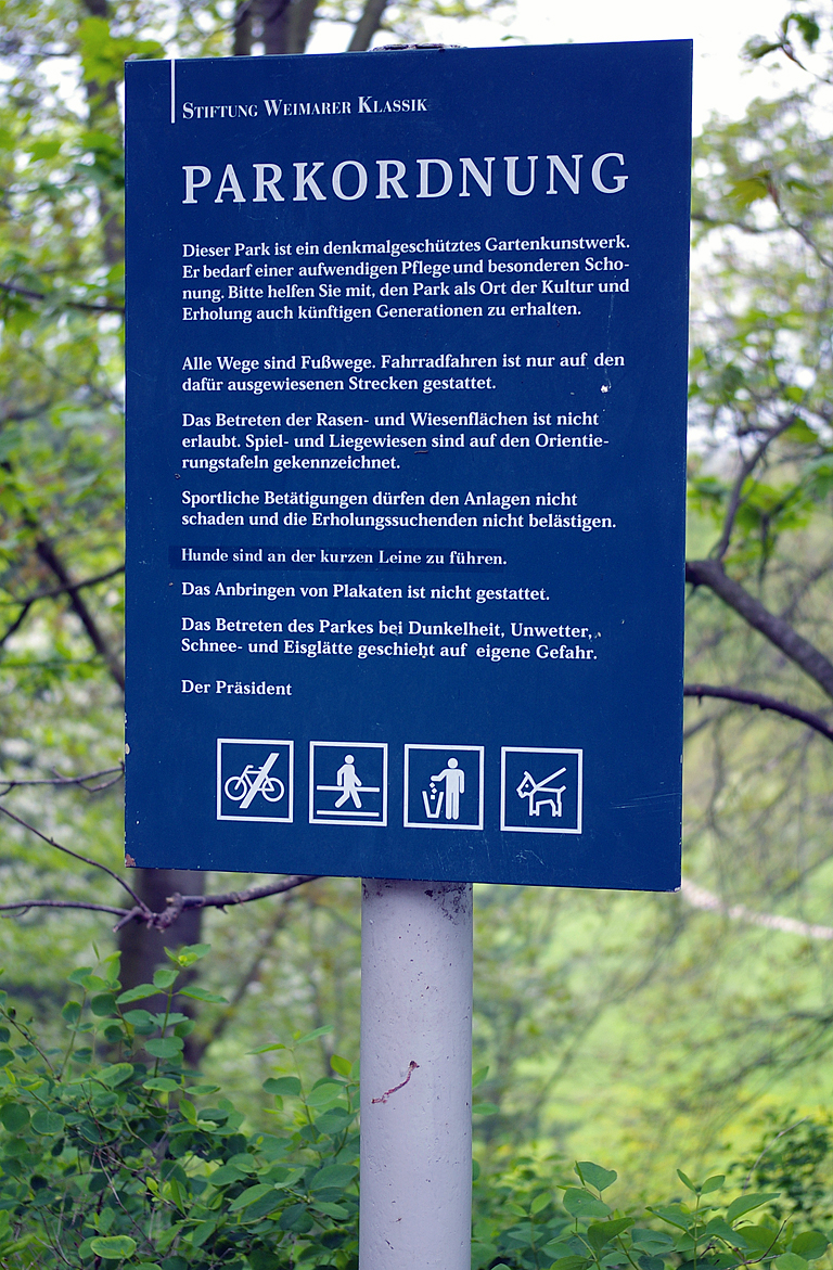 Rules for using the Park an der Ilm