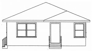 Elevation drawing of a Tred Company rambler house